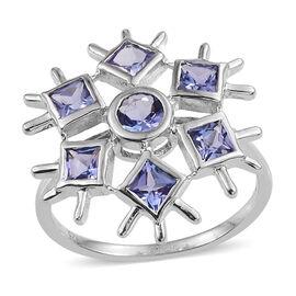 Tanzanite (Rnd) Snowflake Ring in Platinum Overlay Sterling Silver 1.250 Ct.