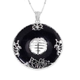 Black Jade Chinese Character FENG (Abundance) Pendant With Chain in Rhodium Plated Sterling Silver 63.000 Ct.
