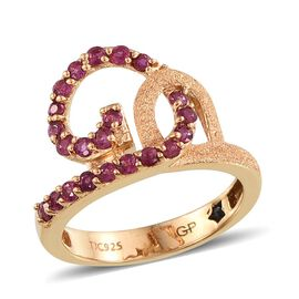GP Burmese Ruby (Rnd), Kanchanaburi Blue Sapphire Ring in 14K Gold Overlay Sterling Silver 1.010 Ct.