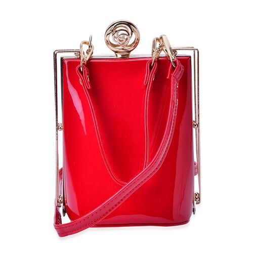 Red Colour Clutch Bag With Removable Shoulder Strap (Size 17x13x10 Cm)
