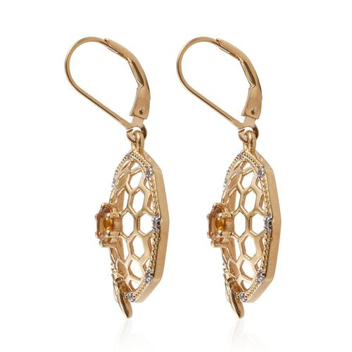 Citrine (Rnd), White Topaz Lever Back Earrings in 14K Gold Overlay Sterling Silver 1.000 Ct.