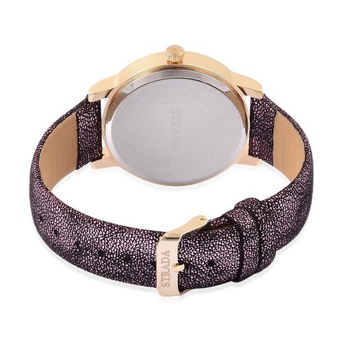 STRADA Japanese Movement Purple Stardust Dial with White Austrian Crystal Water Resistant Watch in Yellow Gold Tone with Stainless Steel Back and Black and Purple Colour Strap