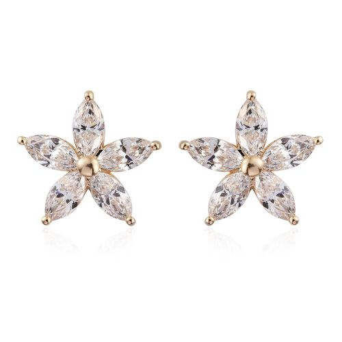 9K Yellow Gold Floral Stud Earrings (with Push Back) Made with SWAROVSKI ZIRCONIA