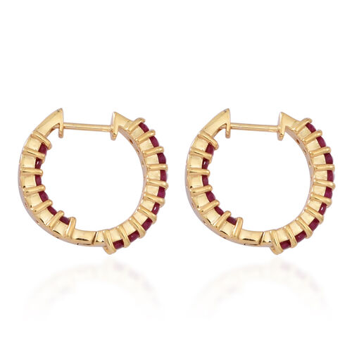 Burmese Ruby (Rnd) Hoop Earrings (with Clasp) in 14K Gold Overlay Sterling Silver 2.250 Ct.