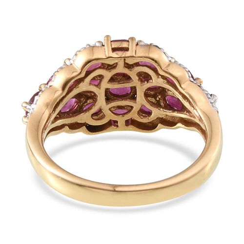 African Ruby (Ovl), Diamond Cluster Ring in 14K Gold Overlay Sterling Silver 4.260 Ct.