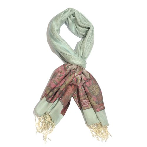 100% Modal Light Green and Multi Colour Paisley Pattern Jacquard Scarf (Size 190x70 Cm)