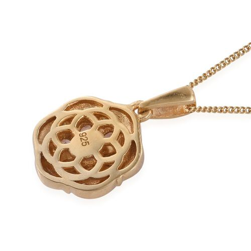 Brazilian Andalusite (Rnd) 7 Stone Floral Pendant with Chain in 14K Gold Overlay Sterling Silver 0.750 Ct.