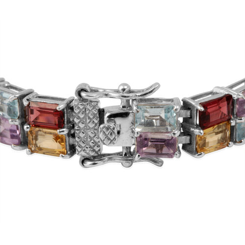 Amethyst (Oct), Citrine, Indian Garnet and Sky Blue Topaz Bracelet in Sterling Silver (Size 7.5) 32.430 Ct.