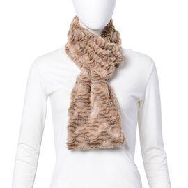 Khaki Colour Faux Fur Zig Zag Pattern Infinity Scarf (Size 80x18 Cm)