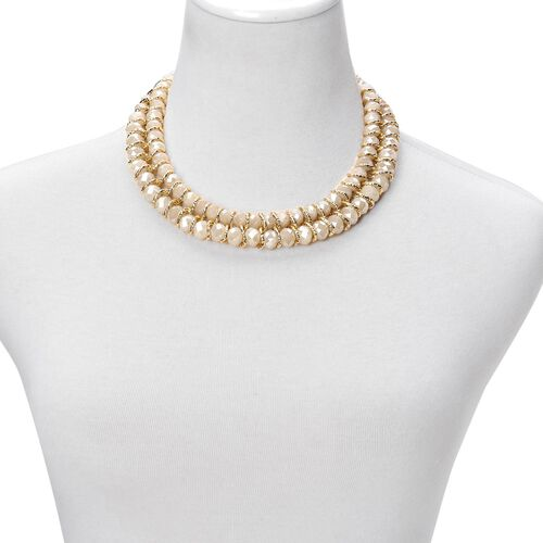 Simulated Champagne Diamond Necklace (Size 18 with 2 inch Extender) and Stretchable Bracelet (Size 7.50) in Gold Tone