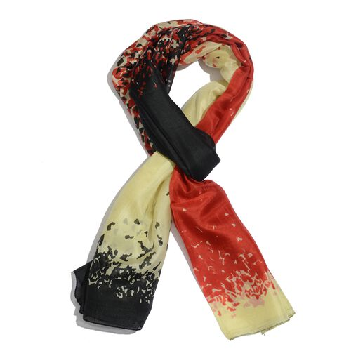 100% Mulberry Silk Red, Lemon and Multi Colour Abstract Pattern Scarf (Size 180x100 Cm)
