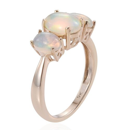 9K Y Gold AAA Ethiopian Welo Opal (Ovl 1.15 Ct) 3 Stone Ring 2.150 Ct.