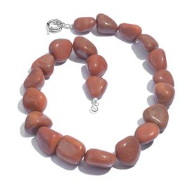 Rare Red Agate Necklace (Size 20) in Silver Tone 581.910 Ct.