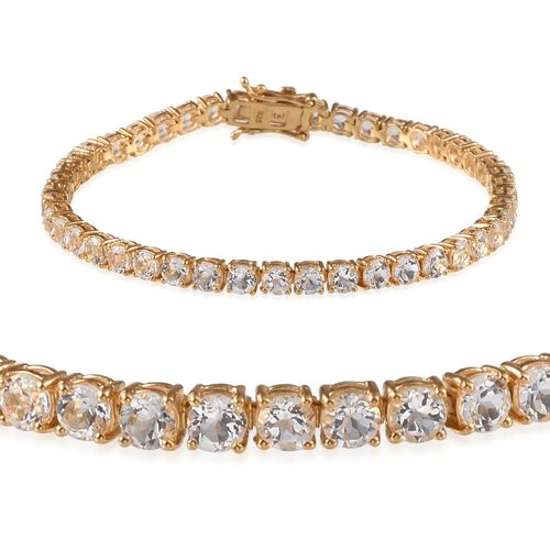 Golconda Diamond Topaz (Rnd) Bracelet (Size 8) in 14K Gold Overlay Sterling Silver 11.000 Ct.