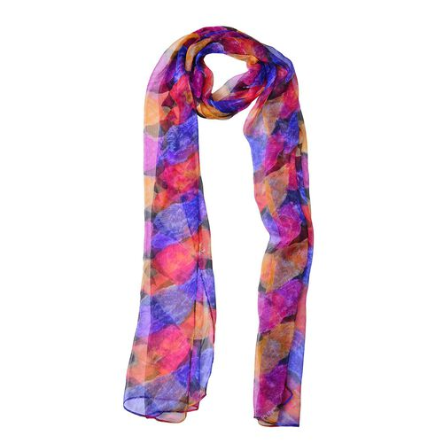100% Mulberry Silk Purple, Blue and Multi Colour Floral Pattern Scarf (Size 180X50 Cm)