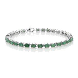 Brazilian Emerald (Ovl) Tennis Bracelet (Size 7.5) in Platinum Overlay Sterling Silver 7.500 Ct.