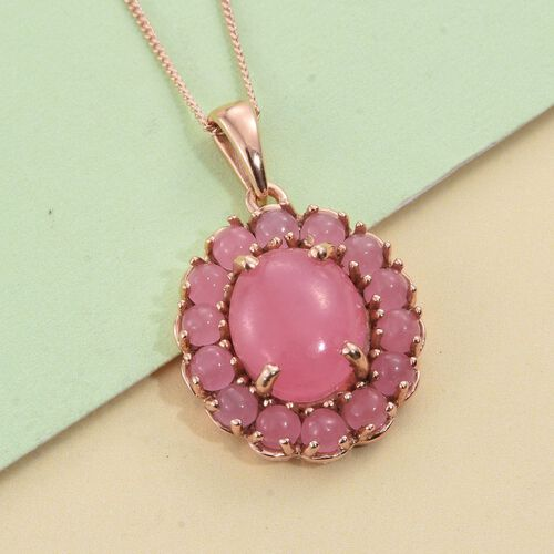 Pink Jade (Ovl 6.00 Ct) Pendant with Chain in Rose Gold Overlay Sterling Silver 8.500 Ct.