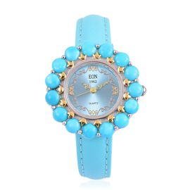EON 1962 Japanese Movement SLEEPING BEAUTY TURQUOISE (15.00 Ct), Turquoise Dial Water Resistant Watch in Gold Overlay Sterling Silver with Steel Back Leather Strap (Silver wt 18.00 Gms)