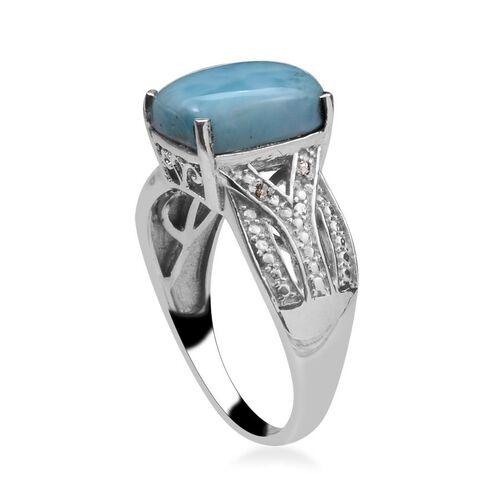 Larimar (Cush 4.25 Ct), Diamond Ring in Platinum Overlay Sterling Silver 4.270 Ct.