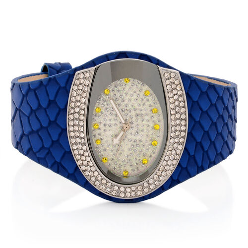 STRADA Japanese Movement White and Yellow Austrian Crystal Watch in Silver Tone with Snake Embossed Dark Blue Colour Strap
