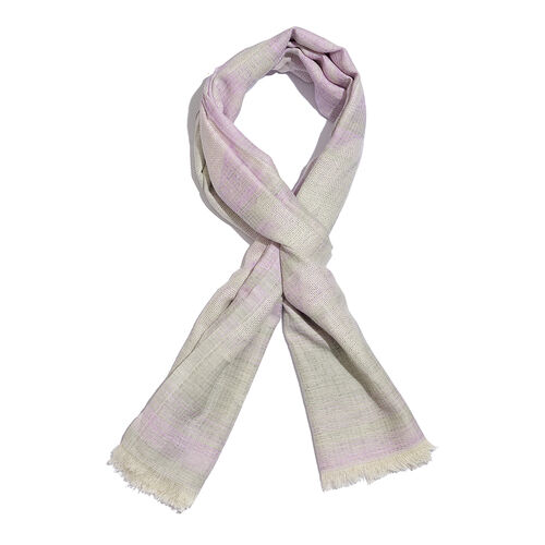 50% Cotton Grey and Pink Colour Jacquard Scarf (Size 180x70 Cm)