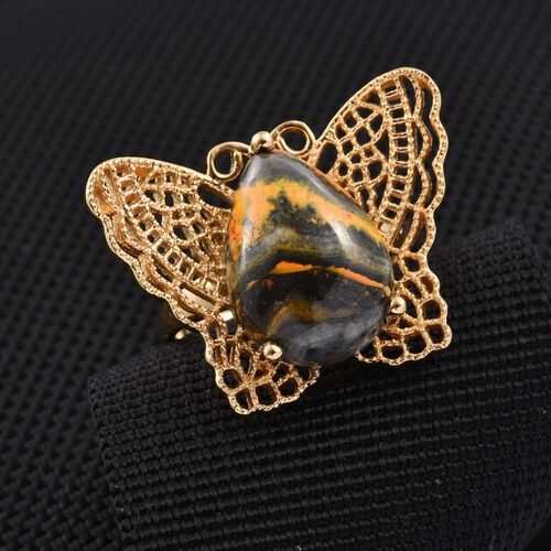 Bumble Bee Jasper (Pear) Butterfly Ring in 14K Gold Overlay Sterling Silver 9.750 Ct.