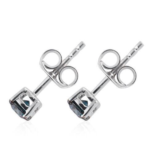 9K White Gold 0.50 Carat Blue Diamond I3 Stud Earrings (with Push Back)