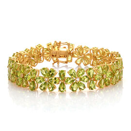 AAA Hebei Peridot (Pear), White Topaz Bracelet (Size 8) in 14K Gold Overlay Sterling Silver 35.680 Ct.