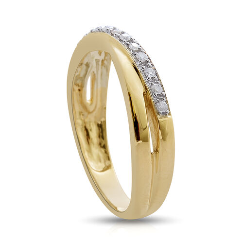 9K Yellow Gold SGL Certified Diamond (I3/G-H) Criss Cross Ring 0.15 Ct.