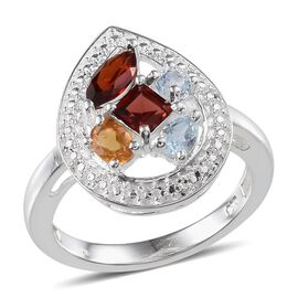 Mozambique Garnet (Sqr 0.50 Ct), Sky Blue Topaz and Citrine Ring in Sterling Silver 1.500 Ct.