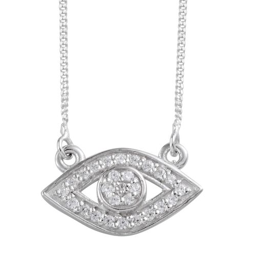 (Option 3) J Francis - Platinum Overlay Sterling Silver (Rnd) Eye Necklace (Size 18) Made with SWAROVSKI ZIRCONIA