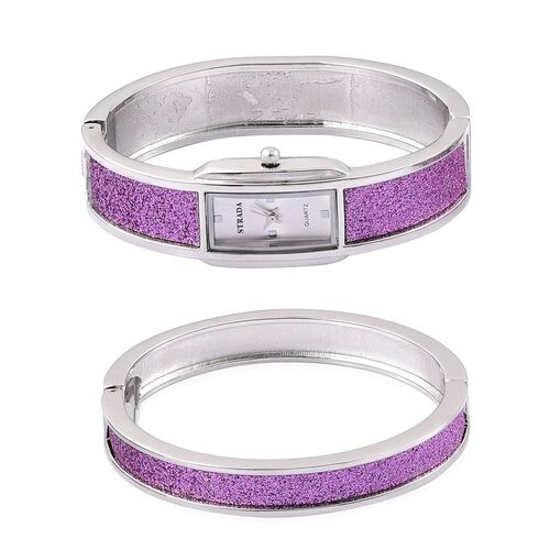 STARDA Japanese Movement White Dial Water Resistant Watch and Bangle (Size 7.5) with Purple Stardust and Silver Tone Strap