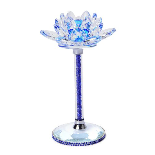 Hand Crafted AAA Blue Colour Austrian Crystal Base Lotus Floral with Crystal Base
