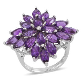 Uruguay Amethyst (Mrq) Cluster Ring in Rhodium Plated Sterling Silver 10.000 Ct.