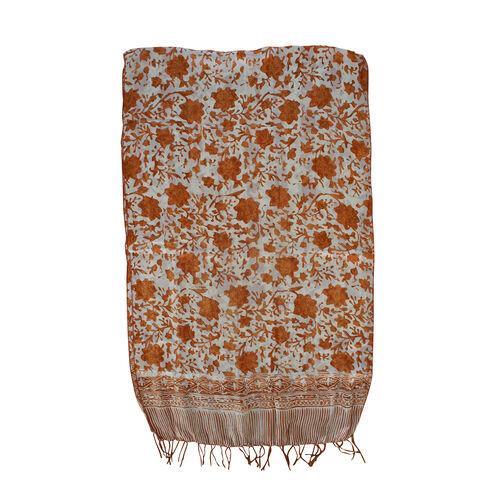 Brown Colour Batik Print 100% Silk Scarf (Size 150x45 Cm)