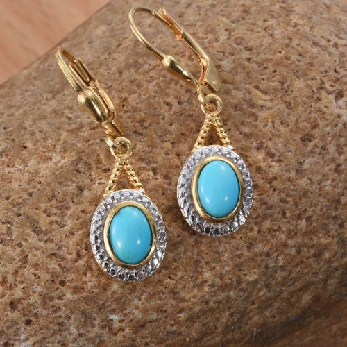 Arizona Sleeping Beauty Turquoise (Ovl) Lever Back Earrings in 14K Gold Overlay Sterling Silver 1.250 Ct.