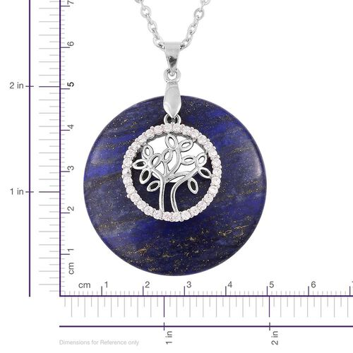 Designer Inspired Tree of Life and Lapis Lazuli with White Austrian Crystal Pendant With Chain (Size 24) in Silver Tone with Stainless Steel 72.000 Ct.