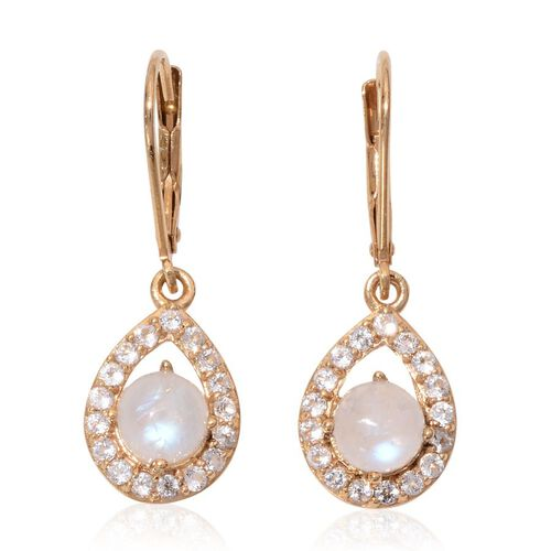 Rainbow Moonstone (Rnd), White Topaz Earrings in 14K Gold Overlay Sterling Silver 3.750 Ct.