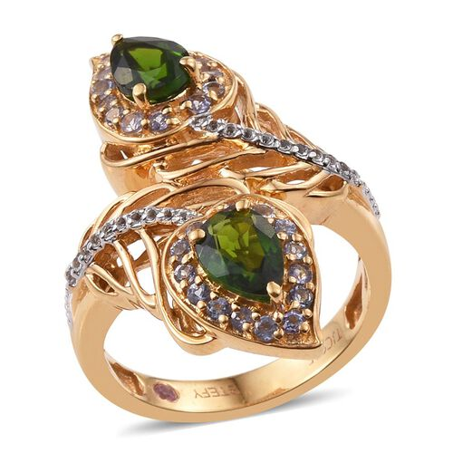 Stefy Russian Diopside (Pear), Tanzanite, Pink Sapphire and White Topaz Crossover Ring in 14K Gold Overlay Sterling Silver 2.250 Ct.