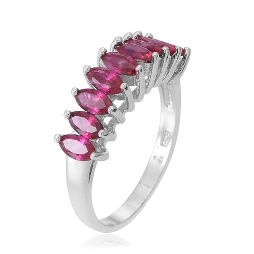 ELANZA AAA Simulated Ruby (Mrq) Half Eternity Ring in Rhodium Plated Sterling Silver