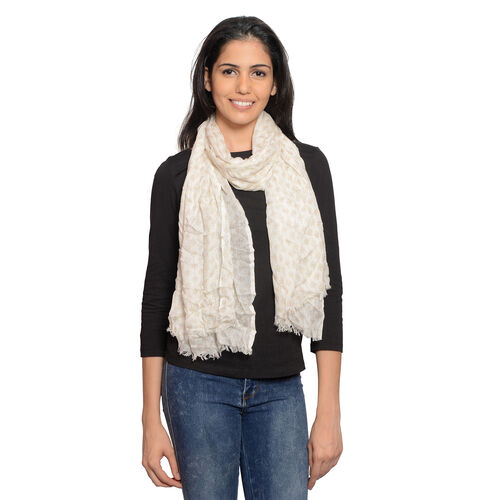 Beige and White Colour Ikat Pattern Scarf (Size 180x70 Cm)