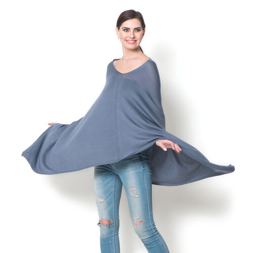 100% Merino Cashmere Wool Grey Colour Body Shawl (Free Size)