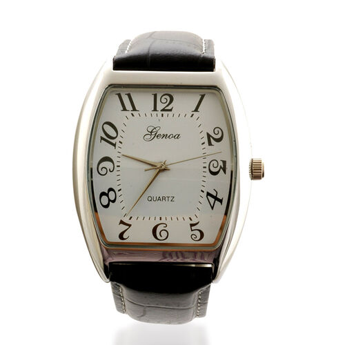 GENOA Japanese Movement ION Plated Platinum Stainless Steel Watch With Genuine Leather Band