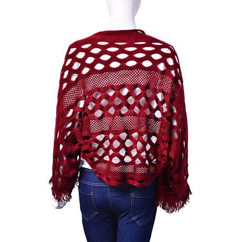 Designer Inspired Burgundy Colour Poncho (Size 130x25 Cm)