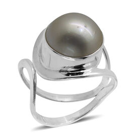 Royal Bali Collection Mabe White Pearl (Rnd) Solitaire Ring in Sterling Silver