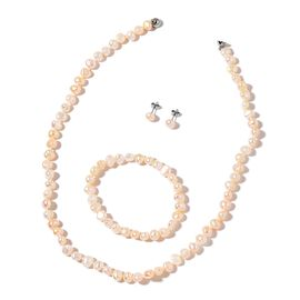High Lustre Double Shine Fresh Water White Pearl Necklace (Size 20), Stretchable Bracelet (Size 7) and Ball Stud Earrings (with Push Back) in Stainless Steel