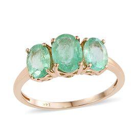 14K Y Gold Boyaca Colombian Emerald (Ovl 1.35 Ct) 3 Stone Ring 2.750 Ct.
