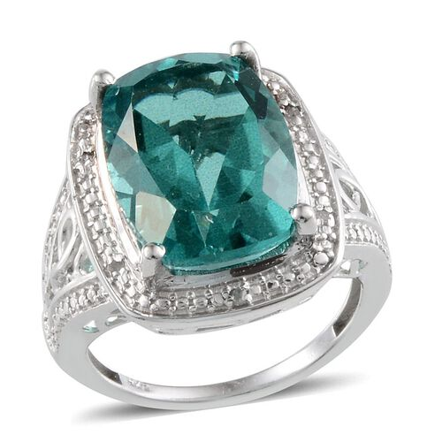 Paraiba Tourmaline Colour Quartz (Cush 11.25 Ct), Diamond Ring in Platinum Overlay Sterling Silver 11.280 Ct.