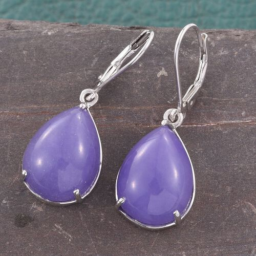 Purple Jade (Pear) Lever Back Earrings in Platinum Overlay Sterling Silver 19.000 Ct.
