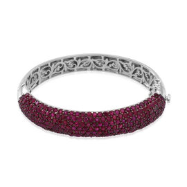 AAA Burmese Ruby (Rnd) Bangle (Size 7.5) in Rhodium Plated Sterling Silver 20.000 Ct.